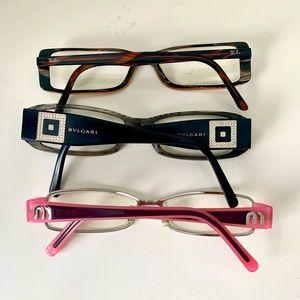 MIU MIU Ray-Ban Bulgari Eyeglass Frames Glasses set of 3